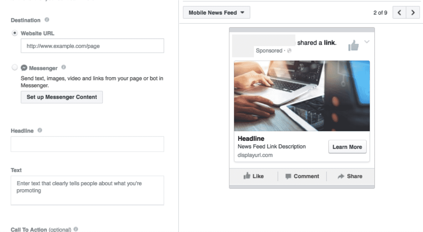 Administrador de anuncios de Facebook