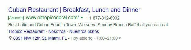 Google Ads para restaurantes en miami