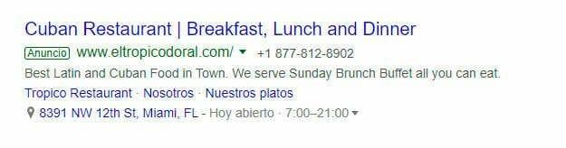Google Ads para restaurantes en miami