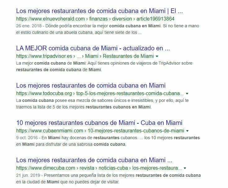 SEO para restaurantes en miami
