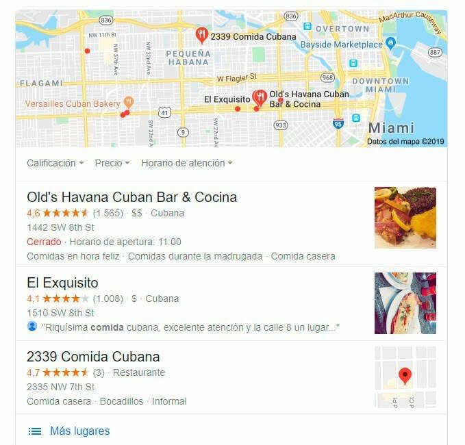 google my business para restaurantes en miami